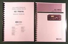 "Icom Ic-751A Instruction & Service Manuals: 11"" X 36"" Schematics, Plastic Covers"