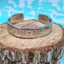 Dog Mom Handstamped Stackable Aluminum Cuff Bracelet