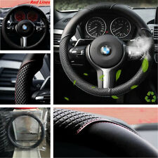 15inch Black PU Leather Red Line Car Steering Wheel Cover Anti-Slip Accessories