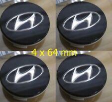 4x-64mm-Hyundai-Nabendeckel-Felgendeckel-Nabenkappe Schwarz Emblem