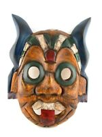 African Wood Mask Hand Carved Painted Ceremonial Tribal Tiki Decor Wall Hanging