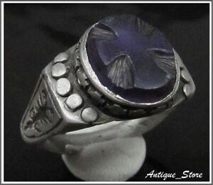 ** CROSS ** Ancient Silver Byzantine Ring INSCRIPTION **RARE** AMETHYST