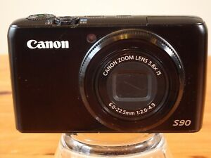 Canon Powershot S90 10MP Black Digital Camera with SD Card, Case and Charger