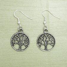 925 Sterling Silver Hooks Silver Alloy Dangle Irish Celtic Tree Of Life Earrings