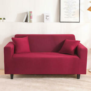 Solid Color Sofa Covers Stretch Milk Fabric Slip Covers Love Seats Cheap Bedroom
