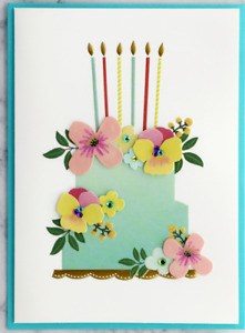 Beautiful Papyrus Birthday Card - 3D Embossed Floral Cake Pastels & Gold + Gems