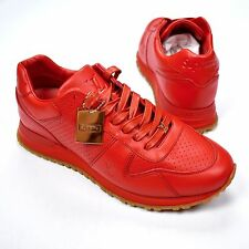 4dcf305322e9 NWT Louis Vuitton x Supreme LV Men s Red Leather Run Away Sneakers 7 8  AUTHENTIC