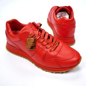 NWT Louis Vuitton x Supreme LV Men's Red Leather Run Away Sneakers 7 8 AUTHENTIC