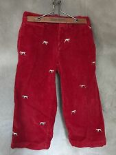 Toddler Boys Corduroy PANTS Crewcuts POINTER DOG Red Wide Wale Cords 3 Warm Soft