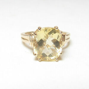 CHUCK CLEMENCY Estate 14K Yellow Gold 4.00 Ct Natural Sun Yellow Citrine Ring