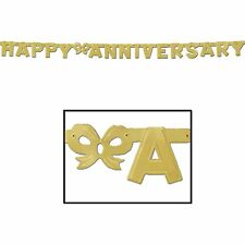Happy Anniversary Jointed gold Banner -6 Ft - 1 Piece