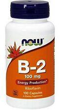 NOW Foods VITAMIN B-2 (RIboflavin) 100 mg 100 Capsules- FRESH PHARMACY STOCK!