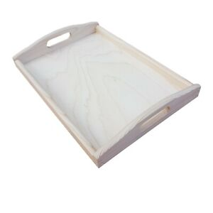 Wooden Serving Large Tray, Set from 1 to 10, 35 cm x 25 cm x 5.5 cm, - Unpainted