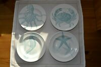 Set of 4 222 Fifth COASTAL LIFE BLUE Appetizer/Bread Plates 6.5""