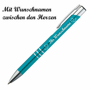"Kugelschreiber mit Namensgravur ""Herzen"" - aus Metall - Farbe: türkis"
