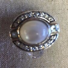Amazing Judith Ripka Mother of Pearl, Blue Topaz, & Diamonique 3pc Ring Set Sz 7