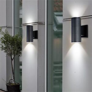 2x Stainless Steel Black Up Down Double Outdoor Indoor LED Wall Light GU10 IP44^