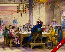 DINNER PARTY AT MANDARIN HOUSE CHINESE FOOD CHINA PAINTING ART REAL CANVAS PRINT