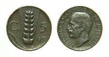 pcc1571_1) Vittorio Emanuele III (1900-1943) 5 cent Spiga 1937