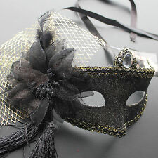Black Venetian Floral Glitter Masquerade Mask Party Prom Mardi Gras Halloween