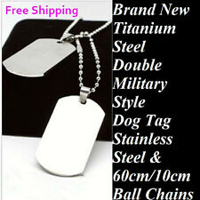 Mens Dog Tag Necklace Double Titanium Military Pendant Ball Chain Necklace