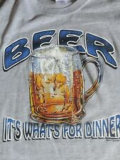 Gray Beer It's What's For Dinner T Shirt Adult L Free US Shipping