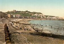 """PS44 Vintage 1890's Photochrom Photo - Sea Front At Dover - Print A3 17""""x12"""""""