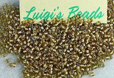 11/0 Toho Round Japan Glass Seed Beads #279- Rainbow Lt Topaz/Gray Lined 10g
