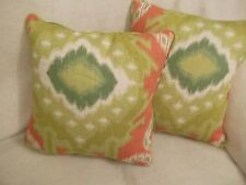 "KIRIBATI IKAT PRINT SCHUMACHER 1 PAIR OF 18""CUSHION COVERS DOUBLE SIDED,PIPED"