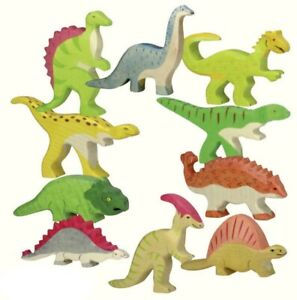 Holztiger Handmade Collectable Painted Wooden Dinosaurs Animal Toy German Design