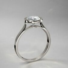 1.50Ct Near White Moissanite Bezel Round Cut Engagement Ring 925 Sterling Silver