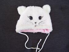 weiße Babywintermütze Fleece 41-43cm,Babymütze als Katzenmotiv mit Ohren 41-43cm
