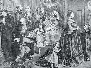 1871 Original Print VICTORIAN CHRISTMAS DINNER - THE HALF HOUR BEFORE DINNER