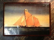 BRT Cute Old Retro Lacquered Wooden Lidded Trinkets Box with Maritime Ship Art