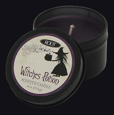 ROOT CANDLES WITCHES POTION HALLOWEEN TRAVEL TIN SCENTED CANDLE. PURPLE CANDLE.