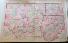 New ListingOriginl 1872 Hand-Colord Map,Tioga,Luzerne,Bradfor d,Sullivan,&3 Othr Counties Pa