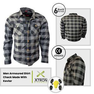 CE Armoured Motorbike Motorcycle Shirt Check Lumberjack Reinforced Shirt Grey