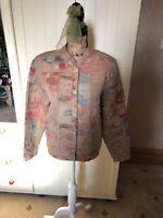 ORVIS Ladies Beige Pastel Tapestry Style Round Neck Smart Blazer Jacket Size M