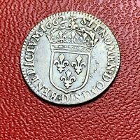 #3855 - RARE - Louis XVI 1/12 écu au buste juvénile 1662 D Lyon TB+/TTB- FACTURE