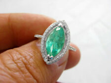 3.22Ct Genuine Natural Emerald And Diamond Ring Solid 14K White Gold Made In USA
