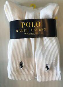 6 Pair Polo Ralph Lauren Classic Sport Classic Crew Cotton Socks Men's 10-13