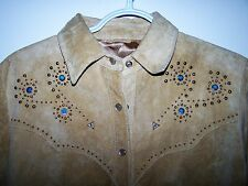 Lady Med/Lg SCULLY Western Native Style Beaded Leather Suede Shirt/Jacket /Coat