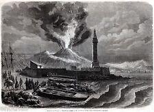 Eruzione del Vesuvio 1861. Grande Veduta.Vesuvius.Golfo di Napoli. Stampa Antica