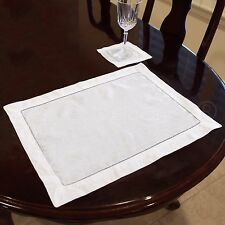 "6 Pack - White Hemstitched Placemats - 14"" x 20"" - 55/45 Linen Cotton Blend"