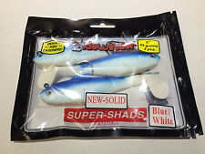 "Sidewinder Super Shads 5"" Sea Fishing Lures SOLID 43GRAMS 3 PC BLUE/WHITE BASS"