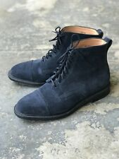 Alfred Sargent for J. Crew Navy Blue Suede Cap Toe Boots - size 9 US
