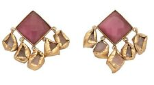 18K Gold Plated Multifaceted Pink Agate Top Earrings w/ Chunky Dangling Agate