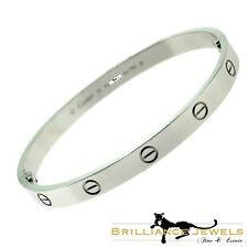 Cartier Love Bracelet in 18k White Gold, Size 19 with Box, Screwdriver (C-136)
