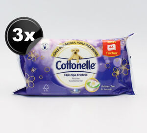 (0,05€ je 1St) 3x Cottonelle Grüner Tee & Jasmin 44 feuchte Toilettentücher