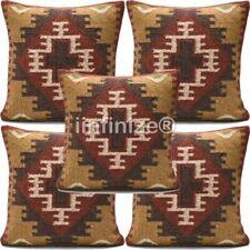 5 PC Lot Sofa Bed Decor Wool Jute Cushion Cover Kilim Pillows Hippie Bohemian